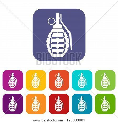 Hand grenade, bomb explosion icons set vector illustration in flat style in colors red, blue, green, and other