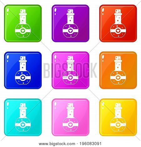 Flask of love elixir icons of 9 color set isolated vector illustration