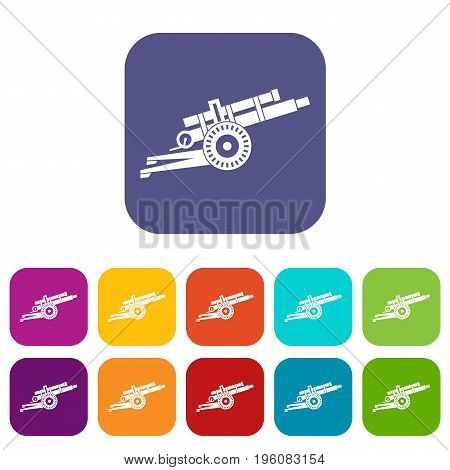 Artillery gun icons set vector illustration in flat style in colors red, blue, green, and other
