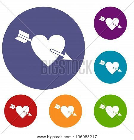 Heart with arrow icons set in flat circle red, blue and green color for web