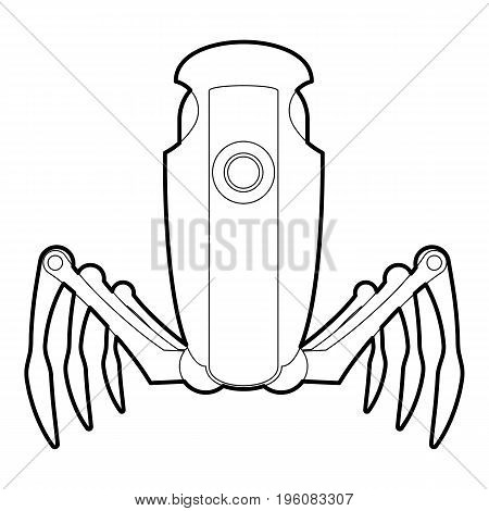 Robot spider icon in outline style isolated on white vector illustration