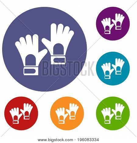 Gloves of goalkeeper icons set in flat circle red, blue and green color for web