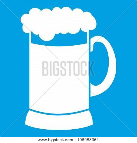 Mug of dark beer icon white isolated on blue background vector illustration
