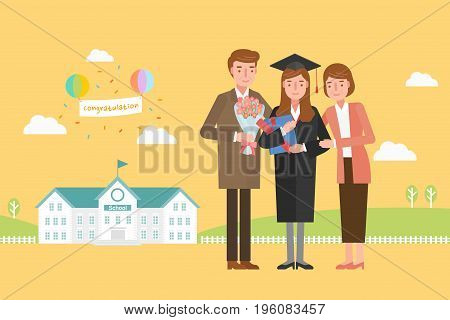 A father and a mother celebrating the graduation ceremony of the girl.