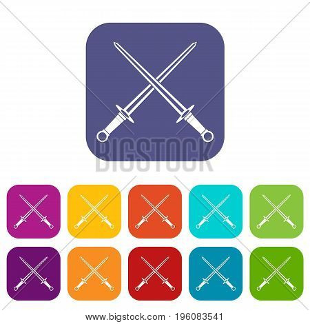 Swords icons set vector illustration in flat style in colors red, blue, green, and other