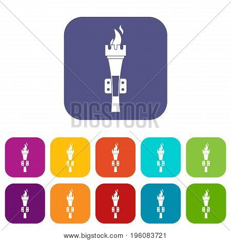 Torch icons set vector illustration in flat style in colors red, blue, green, and other