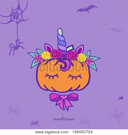 Pumpkin unicorn. Funny Halloween card. Pumpkin isolated on background. Vector illustration