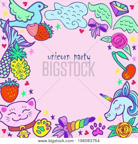 Cute template with modern stickers. Text copy frame template. It can be used for invitation, birthday, St. Valentine's Day, greetings, unicorn party. Vector.