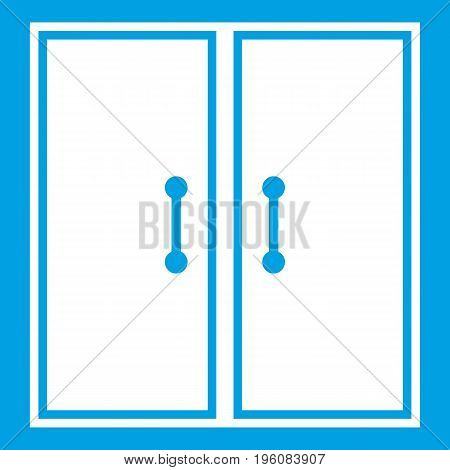 Two glass doors icon white isolated on blue background vector illustration