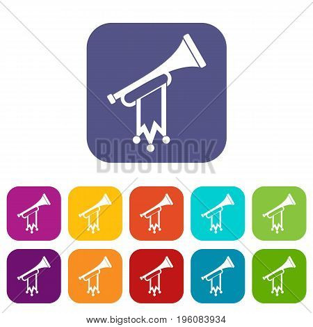 Trumpet with flag icons set vector illustration in flat style in colors red, blue, green, and other