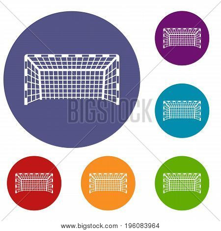 Goal post icons set in flat circle red, blue and green color for web