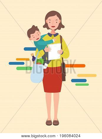 working mom with baby. Lifestyle concept illustration.