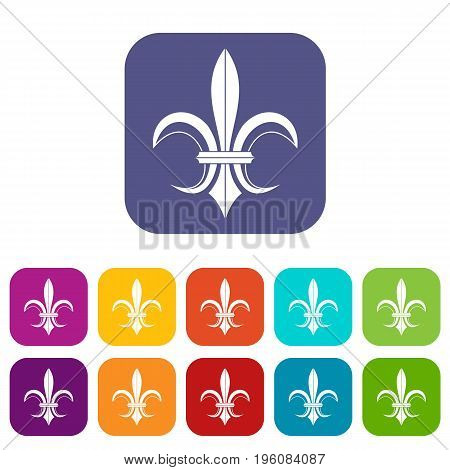 Lily heraldic emblem icons set vector illustration in flat style in colors red, blue, green, and other