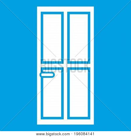 Closed wooden door icon white isolated on blue background vector illustration