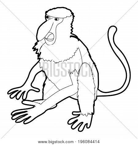 Nasalis monkey icon in outline style isolated on white vector illustration