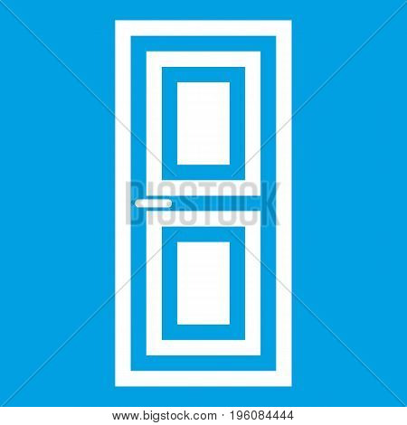 Door icon white isolated on blue background vector illustration