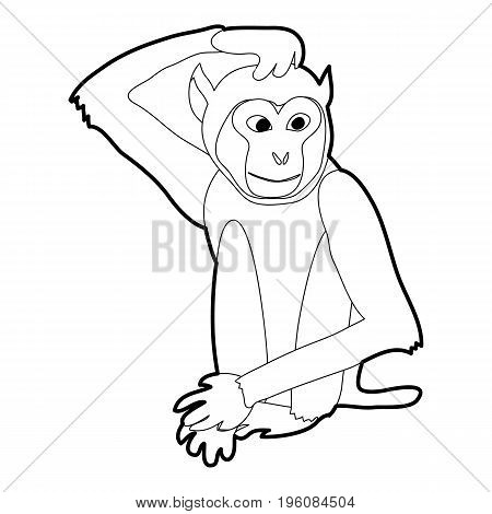 Brooding monkey icon in outline style isolated on white vector illustration