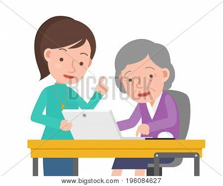 Teachers and old woman of computer learning.