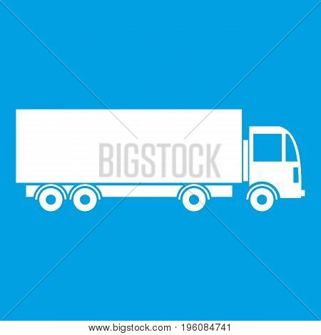Truck icon white isolated on blue background vector illustration