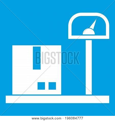 Scales for cargo icon white isolated on blue background vector illustration
