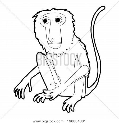 Sitting monkey icon in outline style isolated on white vector illustration