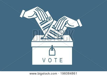 Voting concept. Hand putting paper in the ballot box