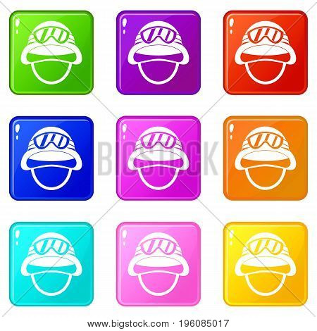 Military metal helmet icons of 9 color set isolated vector illustration