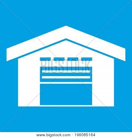 Warehouse icon white isolated on blue background vector illustration