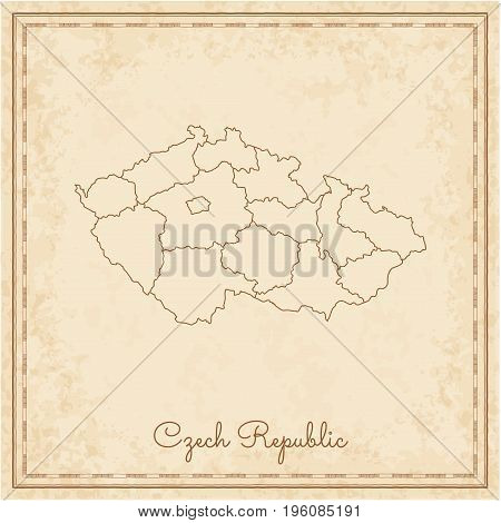 Czech Republic Region Map: Stilyzed Old Pirate Parchment Imitation. Detailed Map Of Czech Republic R
