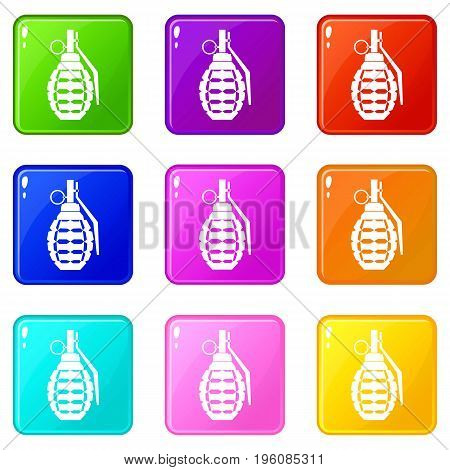 Hand grenade, bomb explosion icons of 9 color set isolated vector illustration