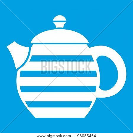 Striped teapot icon white isolated on blue background vector illustration