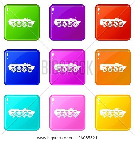 Army battle tank icons of 9 color set isolated vector illustration