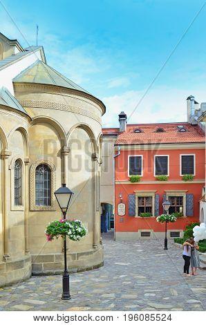 Lviv, Ukraine - July 11, 2017: Historic center of Lviv. Morning Lviv city in the sunlight. Old town of Lviv