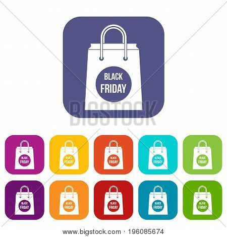 Black Friday shopping bag icons set vector illustration in flat style in colors red, blue, green, and other