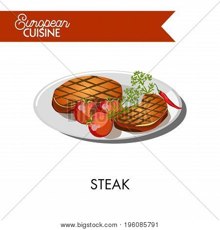 Juicy steak with fresh tomatoes and chili pepper from European cuisine. Thick pieces of roasted meat on plate with ripe vegetables and green dill isolated vector illustration on white background.