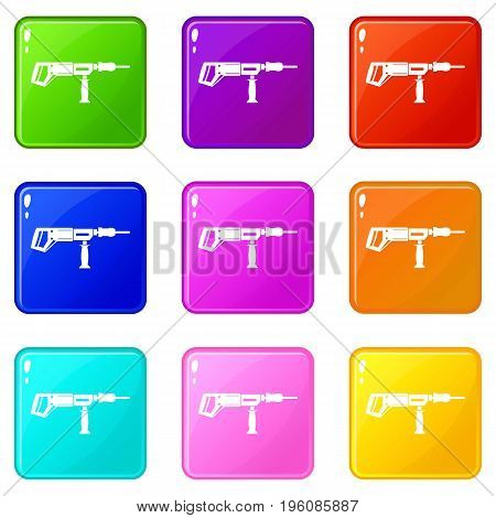 Electric drill, perforator icons of 9 color set isolated vector illustration