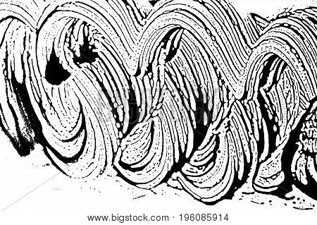 Grunge Soap Texture Invert. Distress Black And White Rough Foam Trace Lovely Background. Noise Dirty
