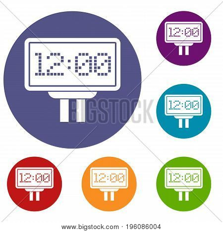 Scoreboard icons set in flat circle red, blue and green color for web