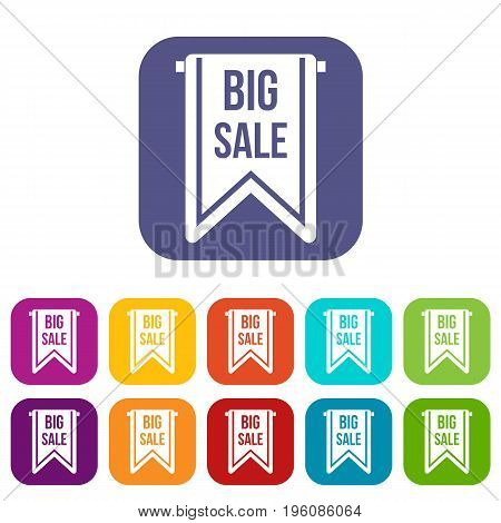 Big sale banner icons set vector illustration in flat style in colors red, blue, green, and other
