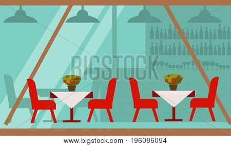 Cozy summer terrace of cafe with delicious food vector illustration. Red chairs beside tables covered with tablecloth and pot with flowers on top. Bar with alcohol that seen through long glass wall.