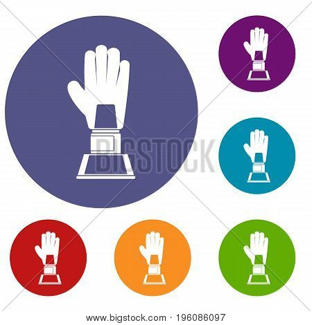 Baseball glove award icons set in flat circle red, blue and green color for web