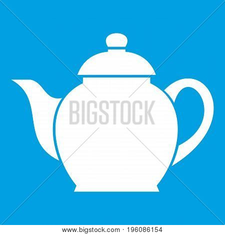 Teapot icon white isolated on blue background vector illustration