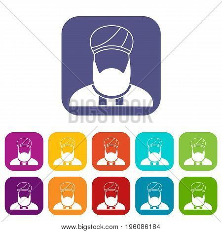 Muslim preacher icons set vector illustration in flat style in colors red, blue, green, and other