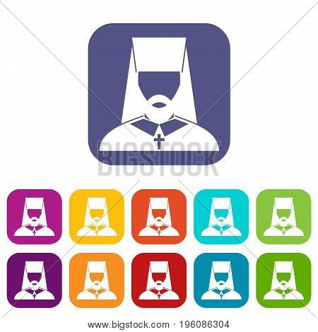 Orthodox priest icons set vector illustration in flat style in colors red, blue, green, and other
