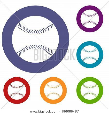 Baseball icons set in flat circle red, blue and green color for web