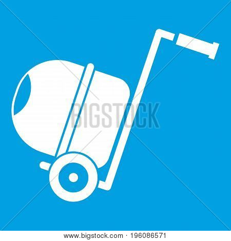 Concrete mixer icon white isolated on blue background vector illustration