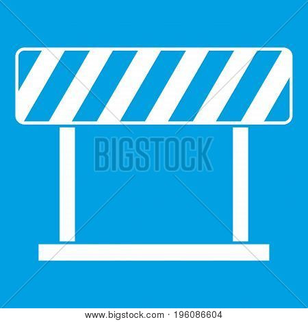 Traffic prohibition sign icon white isolated on blue background vector illustration