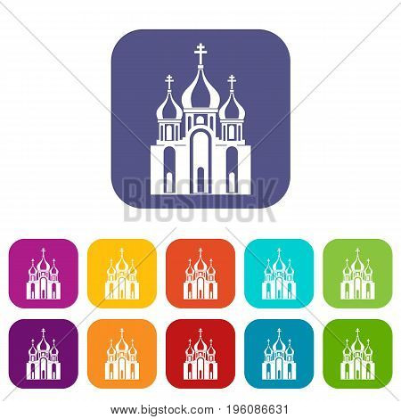 Church building icons set vector illustration in flat style in colors red, blue, green, and other