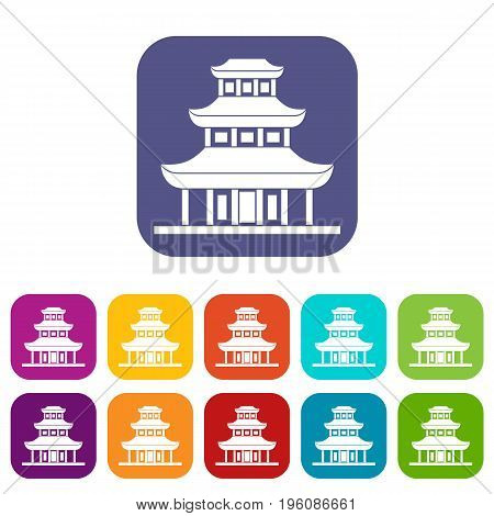 Buddhist temple icons set vector illustration in flat style in colors red, blue, green, and other