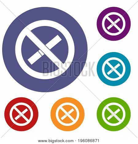Sign prohibiting smoking icons set in flat circle red, blue and green color for web
